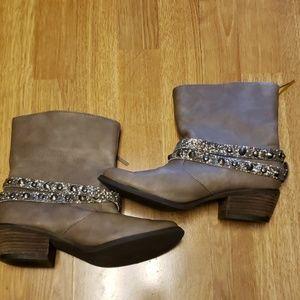 Not Rated gray bling wrap faux leather booties
